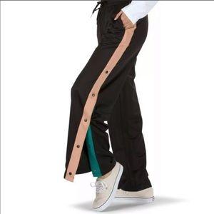Vans women XL black/pink tear away track pants NWT
